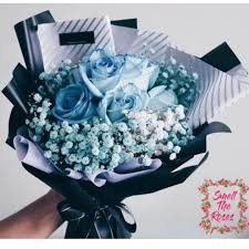 blue roses delivery you re my princess royal blue roses with baby breath designer