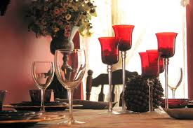colorful tabletop trend for fall tinted glassware