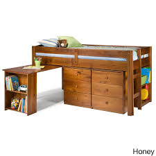 napoli low loft twin bed with 6 drawer storage bookshelves desk