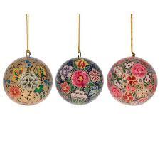3 set of 3 floral paper mache ornaments