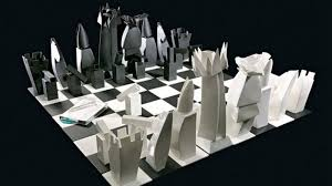 amazing vintage steel chess set abstract representation for with