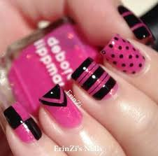 nail designs in pink and black cameleon nail polish