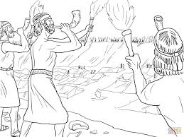 gideon soldiers with trumpets and torches coloring page free