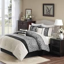 Cream And Black Comforter Amazon Com Madison Park Dover 7 Piece Comforter Set King Black