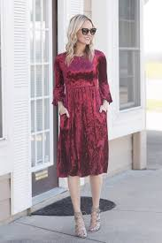maren crushed red velvet midi dress piper street