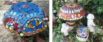 Mushroom Garden Art - making a mosaic mushrooms from cement step by step instructions
