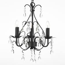 Crystal And Black Chandelier Gallery Wrought Iron And Crystal 3 Light Swag Plug In Chandelier