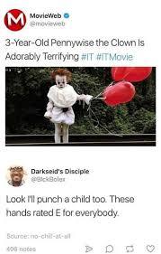 Pennywise The Clown Meme - dopl3r com memes movieweb movieweb 3 year old pennywise the