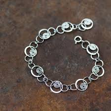 silver bracelet links images Spiral in a circle hammered links chain bracelet sterling jpg