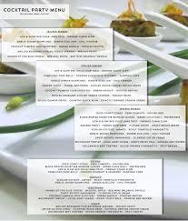 cocktail party sample menu