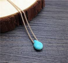 simple turquoise necklace images Drop shipping simple necklace tiny teal teardrop pendant chain jpg