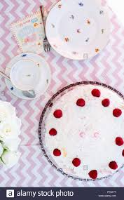 Tea Party Table by Overhead View Of Birthday Tea Party Table With Birthday Cake And