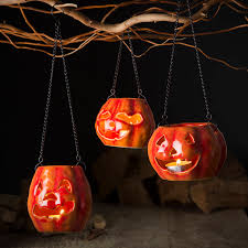 halloween pumpkin lanterns by the contemporary home