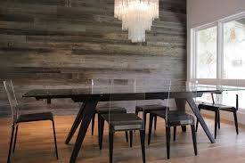 Dining Table Chandelier Reclaimed Barn Wood Wall Black Dining Table Acrylic Back Chair