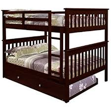 Amazoncom Bunk Bed Full Over Full With Trundle In Cappuccino - Full over full bunk bed