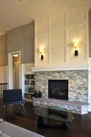 wood trim around stone fireplace brick stonework molding mantel