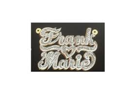 14k Gold Name Plates Personalized 14k Gold Overlay Double 3d Two Name Plate Necklace
