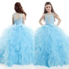 2015 ice blue white little girls pageant dresses crystal