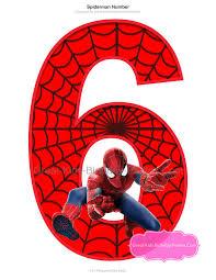 spiderman printable number 6 centerpiece instant download