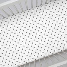 Mini Crib Bed Skirt by White And Gray Polka Dot Crib Sheet Carousel Designs