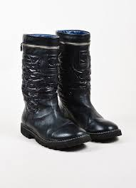 moto boots sale chanel black leather nylon quilted zip around mid calf moto boots