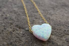 opal earrings necklace images Heart necklace gold opal necklace heart jewelry bridesmaid JPG