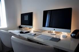 Apartment Desk Ideas Brilliant A Couples Cubicle At Home Dual Desk Setup Desktops