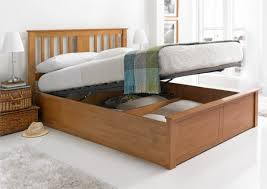 malmo oak finish wooden ottoman storage bed light wood wooden