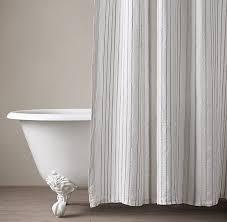 Stripe Shower Curtains Cotton U0026 Linen Shower Curtain Collection Rh