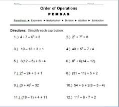 5th grade order of operations worksheets this is a worksheet that can be used as supplemental practice