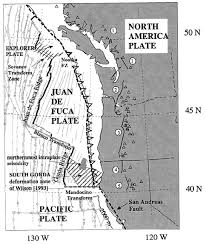 physical map of oregon juan de fuca plate juan de fuca explorer and gorda plates americas tectonics