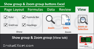 layout view zoom show group zoom group tools of view tab in ms excel 2016
