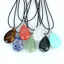 crystal quartz stone necklace images Natural jewelry stone necklace pu leather cord teardrop pendant jpg