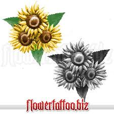 design with three sunflower on leafs