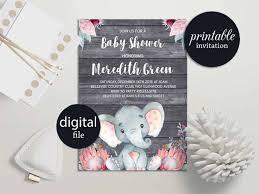 elephant baby shower invitation safari baby shower