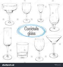 vintage cocktail glasses set hand drawn cocktail glasses sketch stock vector 297328979