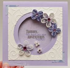 Farewell Party Invitation Card Design Love In Envelope Quilling Purple And White Flowers Circle Window Card