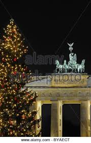 Decorative Christmas Tree Gate by Berlin Brandenburg Gate Christmas Tree Winter Snow Stock Photo