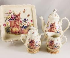 bunny tea set cracker barrel easter treasure bunny tea set 4 pc 2 lids sugar