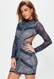 navy lace waist cut out long sleeve bodycon missguided