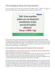 the versatility of vanity toll free numbers 1 pdf pdf archive