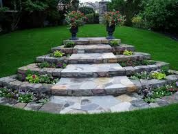 Backyard Walking Paths Stone Landscaping Ideas Design Sloped Front Yard Landscape