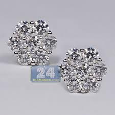 womens stud earrings womens diamond cluster stud earrings 14k yellow gold 1 15 ct