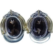 smoky quartz earrings designer estate lagos sterling silver 18k gold smoky quartz