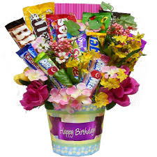 candy basket delivery happy birthday candy chocolate and cookie bouquet