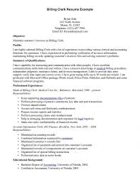 Clerical Resume Objective Examples Resume For Medical Billing And Coding