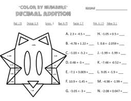 number operations worksheets color by numbers fractions u0026 decimals