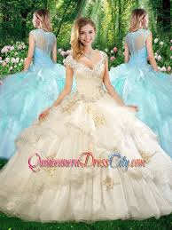 beautiful straps chagne quinceanera dresses with beading and
