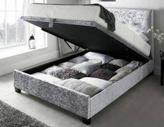 Silver Velvet Headboard by Crushed Velvet Bed Frame Double 4ft6 Bedstead Grey Velvet