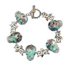 skull crystal bracelet images Barbara bixby sterling 18k skull doublet 7 1 4 quot toggle bracelet 001